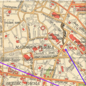 Fig. 2 A close-up view of quadrants J6-K7 from the 1922 map showing the location of Sahaflar Çarşısı and Bab-ı Ali Street. The original map can be viewed here: https://iiif.lib.harvard.edu/manifests/view/ids:15497126